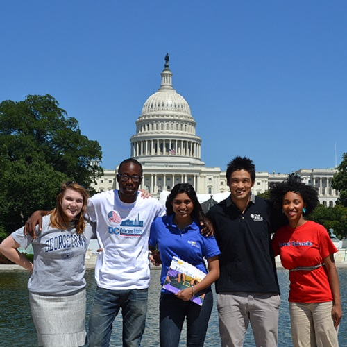 Diverse group of medical students standing in front of the US Capitol