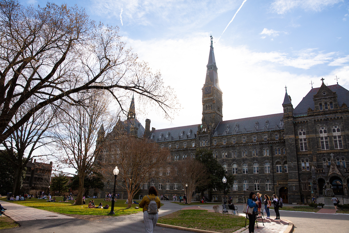 Healey Hall building on Georgetown Campus with large clocktower on top
