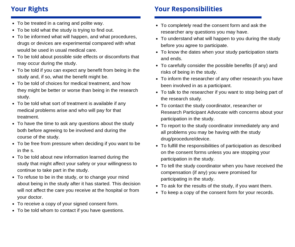 Summary of patient rights and responsibilities in an infographic