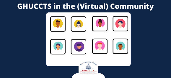 Graphic of a computer screen with cartoon faces of conference call participants on display, with the title