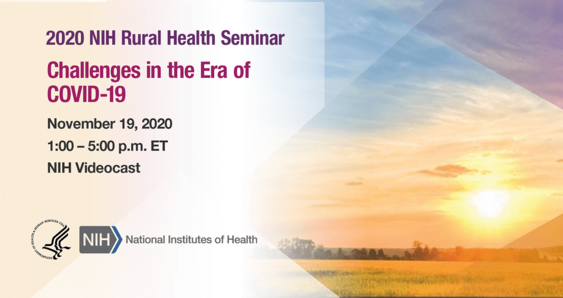 2020 NIH Rural Health Seminar banner with date and time of webinar