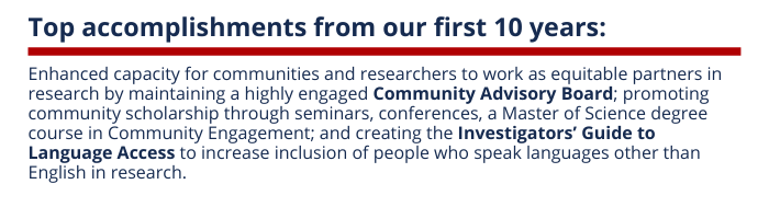 Summary of Community Engagement's top accomplishments from the past 10 years